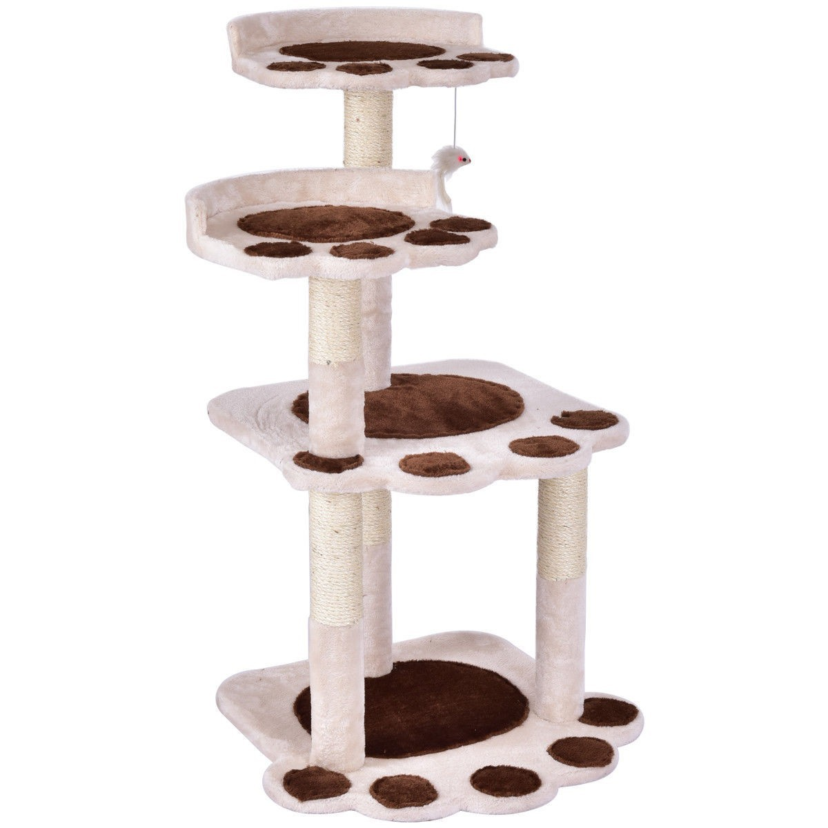 "42"" Cat Tree Kitten Pet Furniture Multi-level Climb Scratching Posts Paw Beige by"