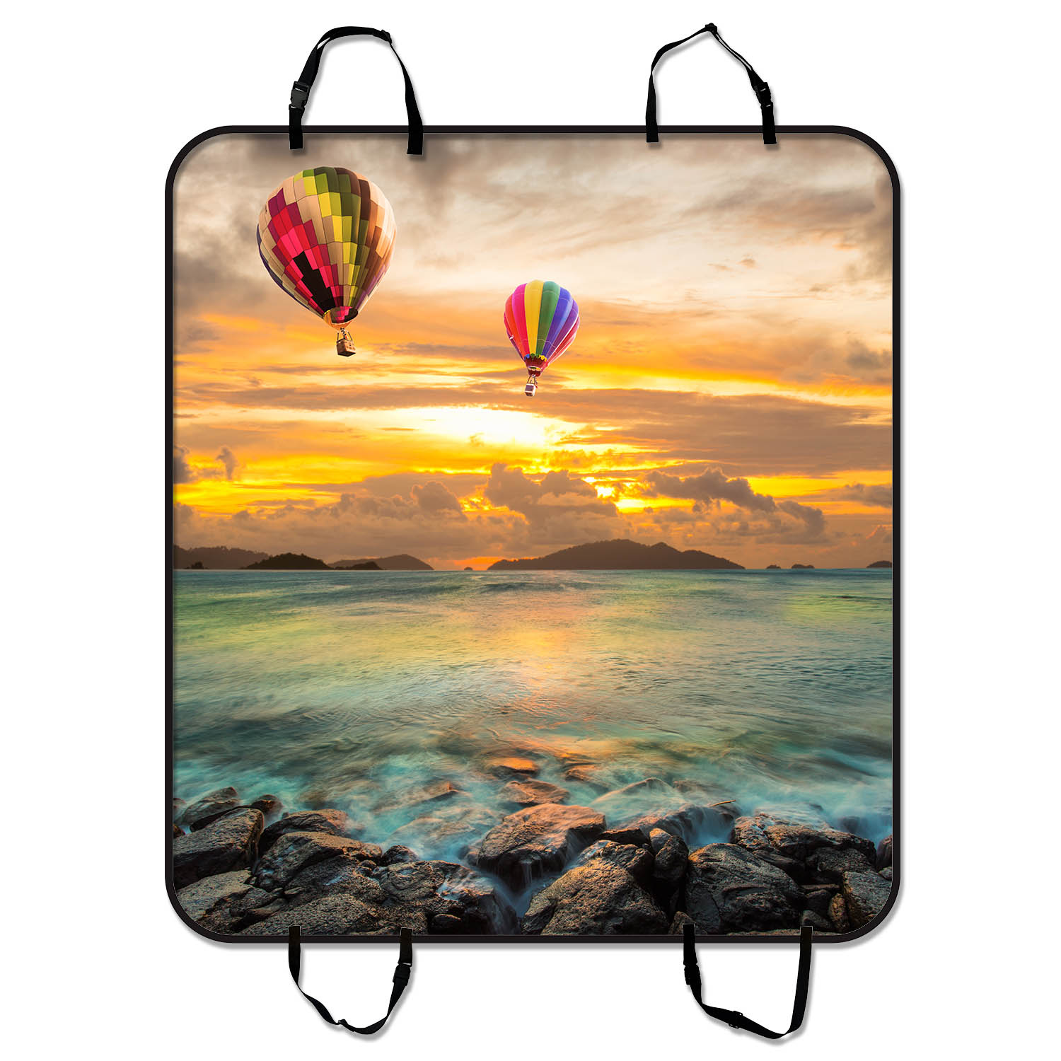 YKCG Sunset Sea Rocks Hot Air Balloon Pet Seat Cover Car ...