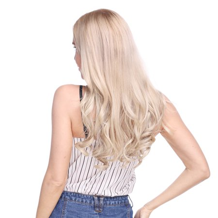 S-noilite 20 Inches Invisible Wire No Clips in Hair Extensions Miracle Secret Fish Line Hairpieces Silky Straight Synthetic hair Dark black-Curly,90g ()