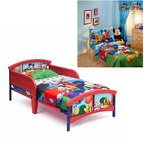 Disney Mickey Mouse Toddler Bed and Bedding Value Bundle