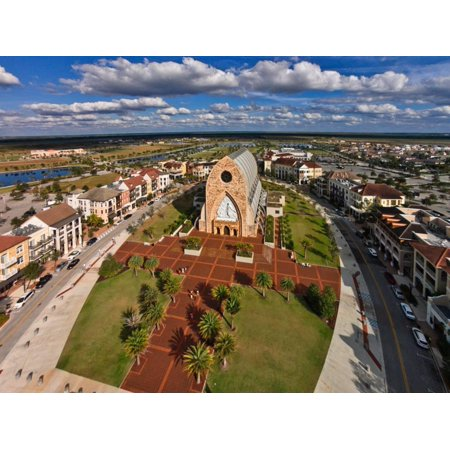 Elevated view of Ave Maria Oratory church and Campus, Ave Maria, Collier County, Florida, USA Print Wall