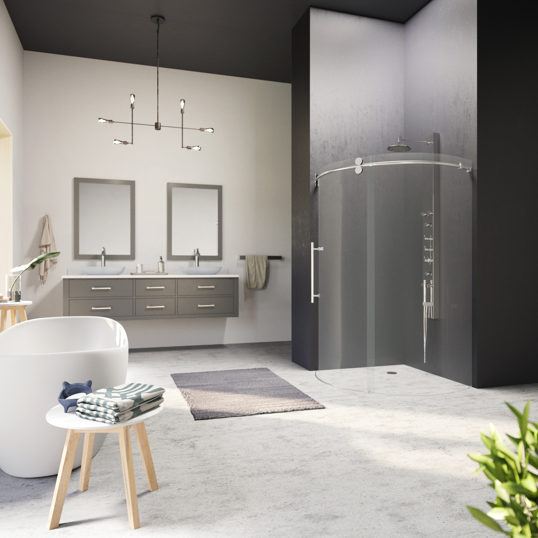 VIGO Sanibel 36 x 36 Frameless Round .3125-in. Clear Glass/Stainless Steel Hardware Shower Enclosure Left-Sided Door
