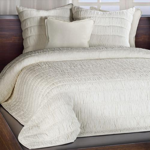 Chauran Freya Ivory Ruched Cotton Quilt Queen