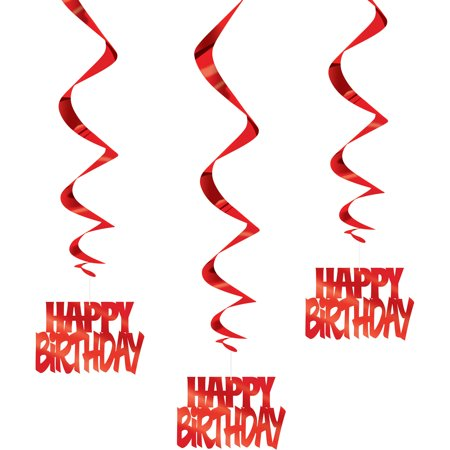 """""""Happy Birthday"""" Hanging Decorations, 32 in, Red, 3ct"""