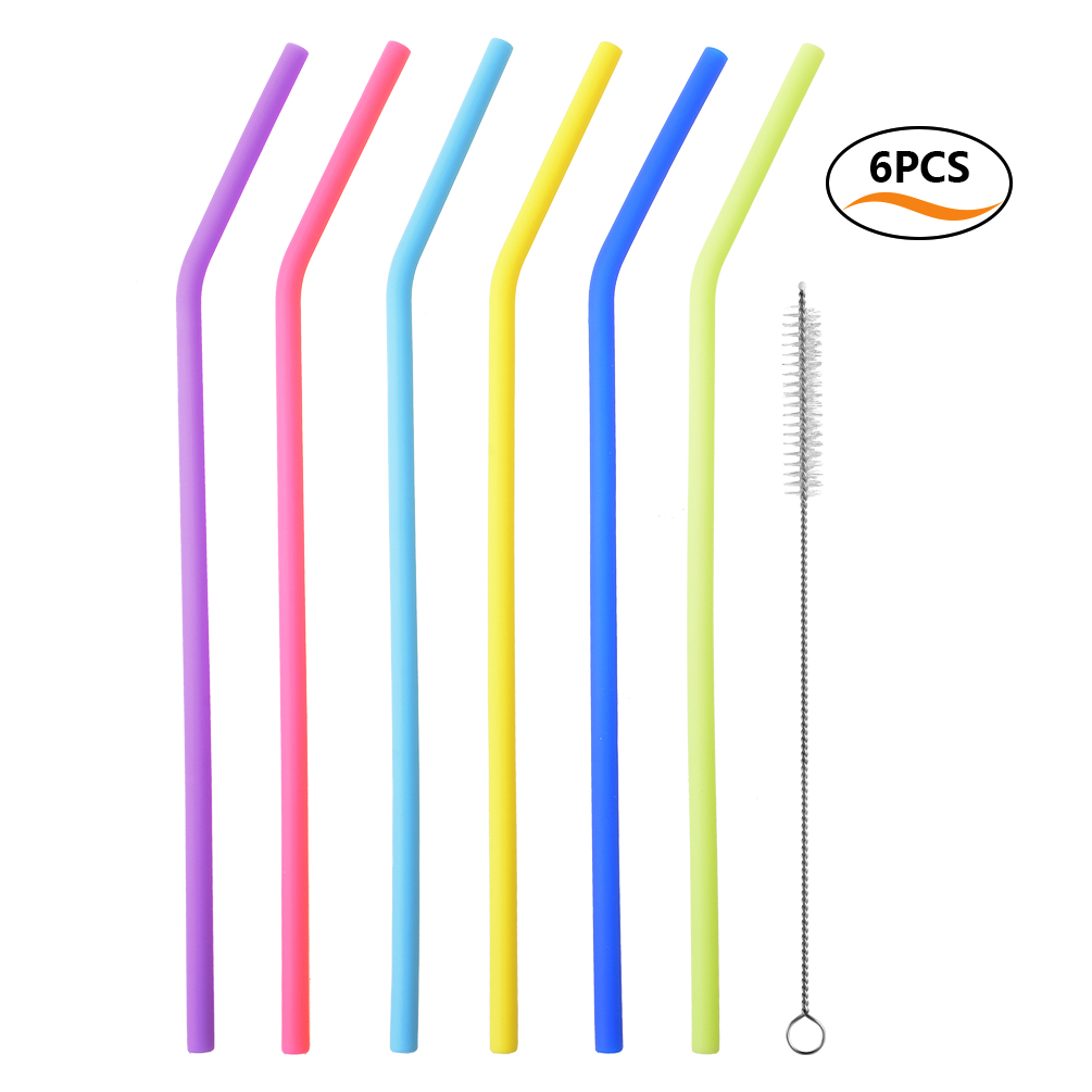Reusable Drinking Straws-Uarter Reusable Drinking Straws Food-grade Silicone Straws Colorful Drinking Straw Set with Cleaning Brush 10'' Long Set of 6