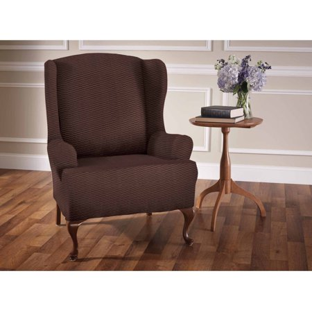 Stretch sensations raise the bar wing chair slipcover - Bar height chair slipcovers ...