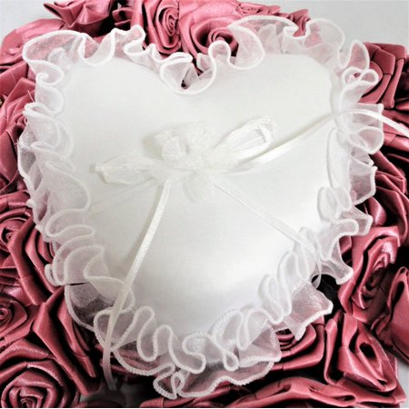 Wedding Ceremony White Heart Shape Wedding Ring Bearer Pillow with Organza trim](Dead Hearts Wedding)