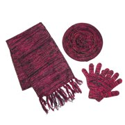 CTM®  Womens Space Dyed Beret Scarf and Glove Set