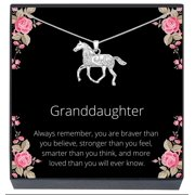 SheridanStar Granddaughter Horse Pony Pendant Necklace Jewelry Gifts for Girls, Little Girls, Teens