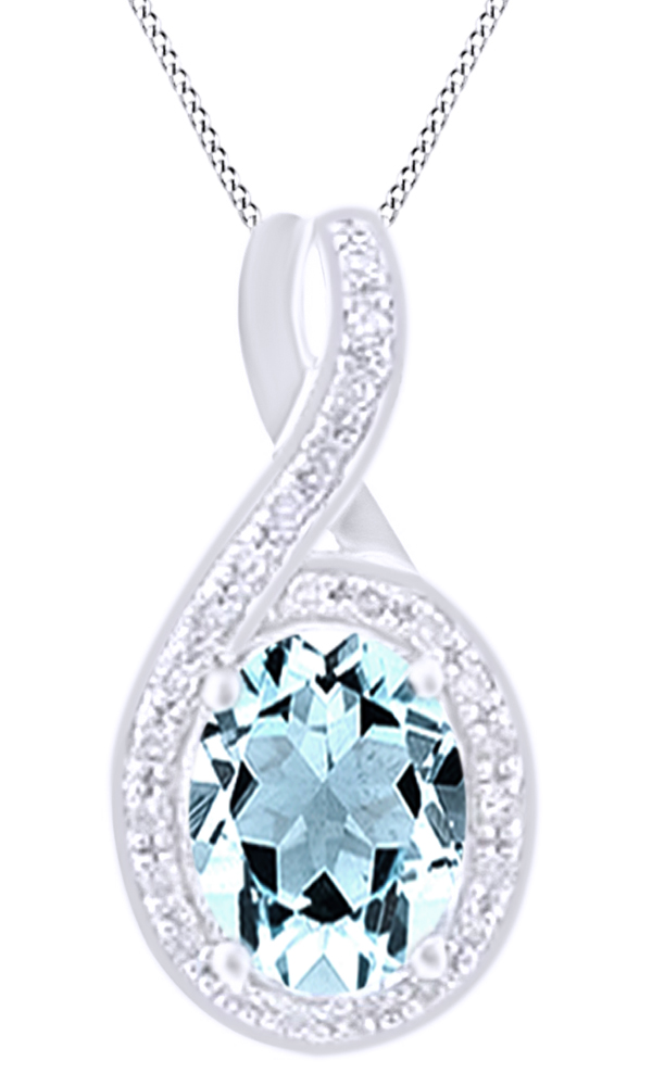 Simulated Aquamarine & White Natural Diamond Oval Pendant Necklace In 14k White Gold (0.1 cttw)By Jewel Zone Us by Jewel Zone US