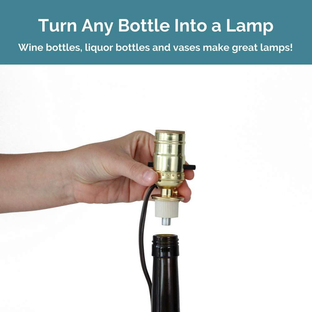 Whiskey Bottle Lamp Kit Lamp Making Kit for Bottle Brass with Brown Cord DIY Bottle Lamp Kit Make a Wine Bottle Lamp or Other Lamps for Bottles with a Lamp Kit for Liquor Bottle
