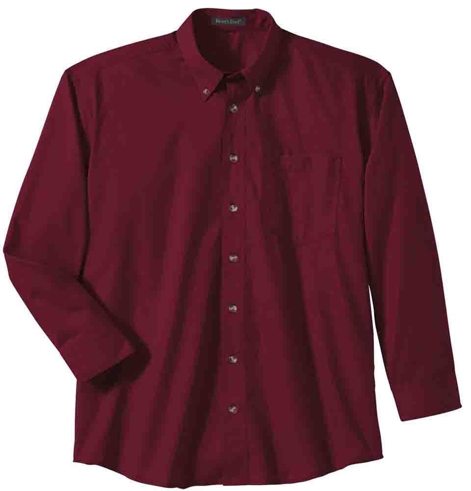 Mens Burgundy River/'s End EZCare Woven Shirt  Casual   Tops