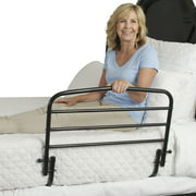 Stander 30 inch Adult Bed Rail For Elderly, Folding Bed Guard Rail and Assist Handle for Seniors, Black