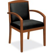 basyx VL850 Series Wood Guest Chair, Black Leather Upholstery w/Cherry Veneer