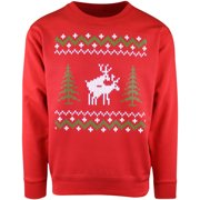 Mens Red Reindeers Doing It Ugly Christmas Crewneck Sweater