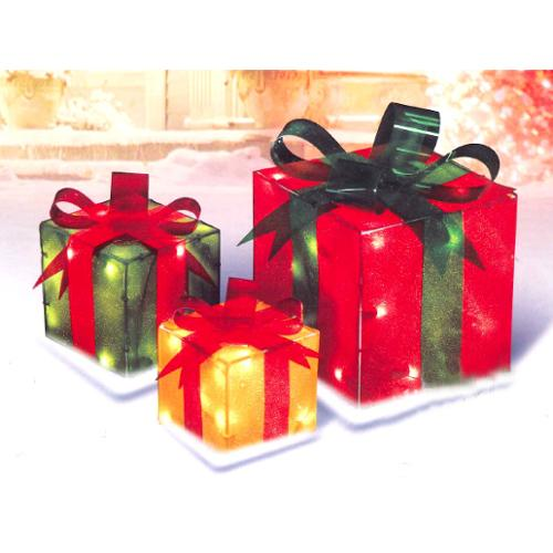 3-Piece Glistening Gift Box Lighted Christmas Yard Art Decoration ...