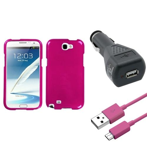 Insten Solid Hot Pink Hard Case+Car Charger Adapter+Cable For Samsung Galaxy Note 2 II