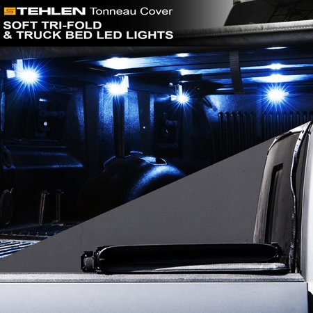 Stehlen 733469490067 Soft Tri-Fold Tonneau Cover with Truck Bed LED Lights For 15-18 Ford F150 Regular ( Standard ) / Super ( Extended ) Cab 8 Feet ( 96