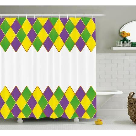 Mardi Gras Shower Curtain, Carnival Colored Grid Design Diamond Line Pattern Retro Framework, Fabric Bathroom Set with Hooks, Purple Lime Green Yellow, by Ambesonne Diamond Mardi Gras Platter