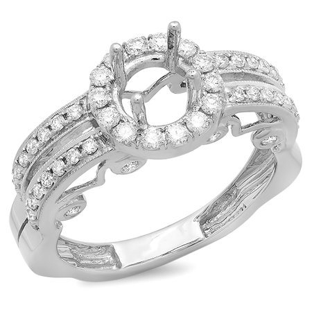 Dazzlingrock Collection 0.72 Carat (Ctw) 14k Round Diamond Ladies Bridal Semi Mount Ring Engagement (No Center Stone), White Gold, Size 8.5