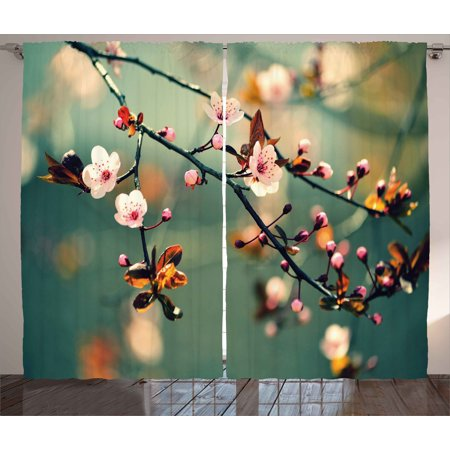 Nature Curtains 2 Panels Set, Spring Themed Asian Floral Flowering Japanese Cherry Sakura Photo, Window Drapes for Living Room Bedroom, 108W X 84L Inches, Light Pink and Forest Green, by Ambesonne