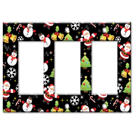 Art Plates brand Triple Gang Rocker Wall Plate Christmas Wrap