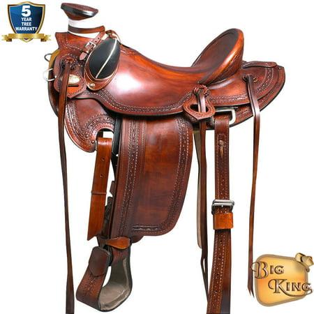 Docksides Saddle - 17'' HILASON BIG KING SERIES WESTERN WADE RANCH ROPING COWBOY SADDLE