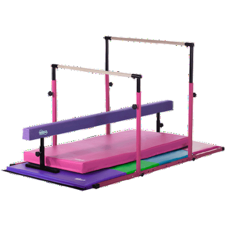 3Play Deluxe - Pink 3Play Bars and Landing Mat, Purple Adjustable Balance Beam, Pastel Folding Gymnastics Mat