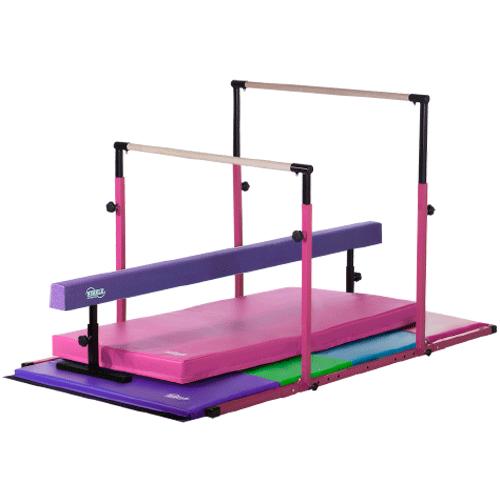 3Play Deluxe - Pink 3Play Bars and Landing Mat, Purple Adjustable Balance Beam, Pastel Folding Gymnastics Mat