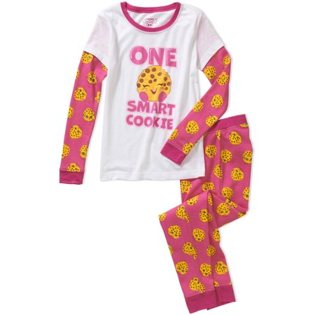 Shopkins Girls' Smart Cookie Waffle Top and Pant Sleepwear Set