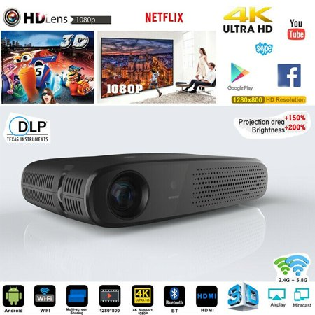 Kingslim Portable 8600 Lumens Android 4K 3D DLP Smart Home Theater Projector Wifi HDMI SD-Black ()