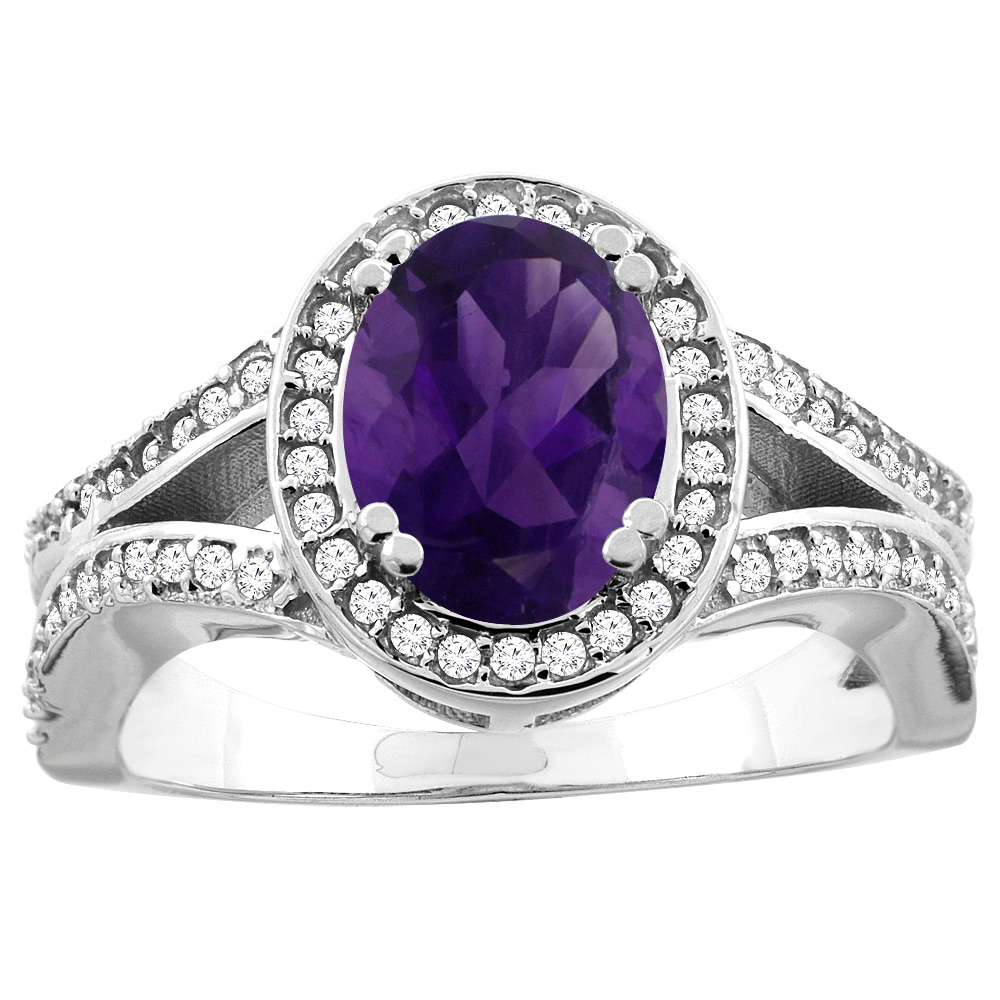 14k White Gold Diamond Halo Genuine Amethyst Ring Split Shank Oval 8x6mm, size 5 by Gabriella Gold