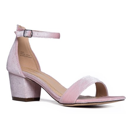 J. Adams Ankle Strap Adorable Low Block Kitten - Low Rise Heels
