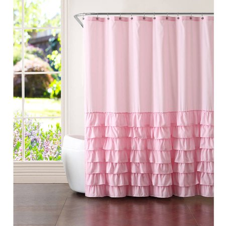 Better homes and gardens pink ruffles 13 piece shower curtain set for Better homes and gardens shower curtains