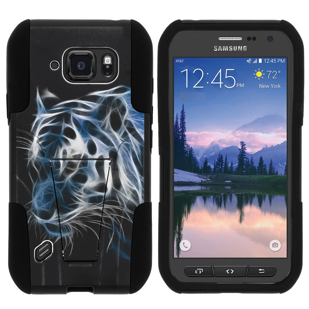 Samsung Galaxy [S6 Active model] G890 STRIKE IMPACT Dual Layered Shock Resistant Case with Built-In Kickstand by Miniturtle® - Blue White Tiger