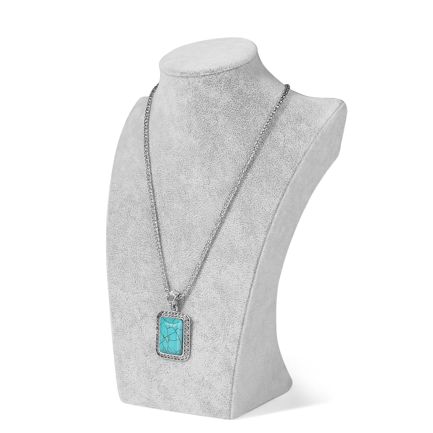 Gray Velvet Freestanding Necklace Jewelry Chain Display Bust Stand Holder