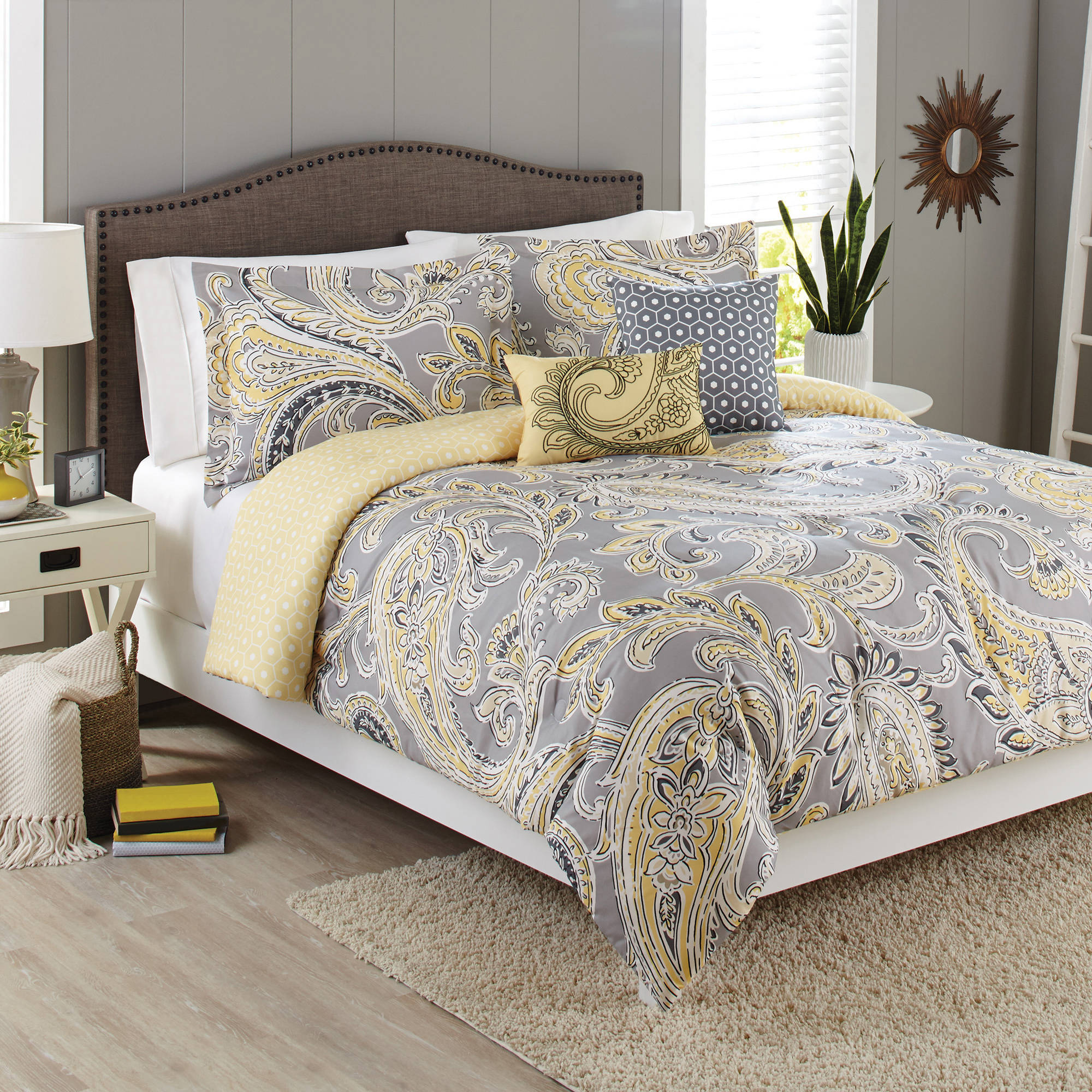 Better Homes and Gardens 5-Piece Bedding Comforter Set, Yellow Grey Paisley