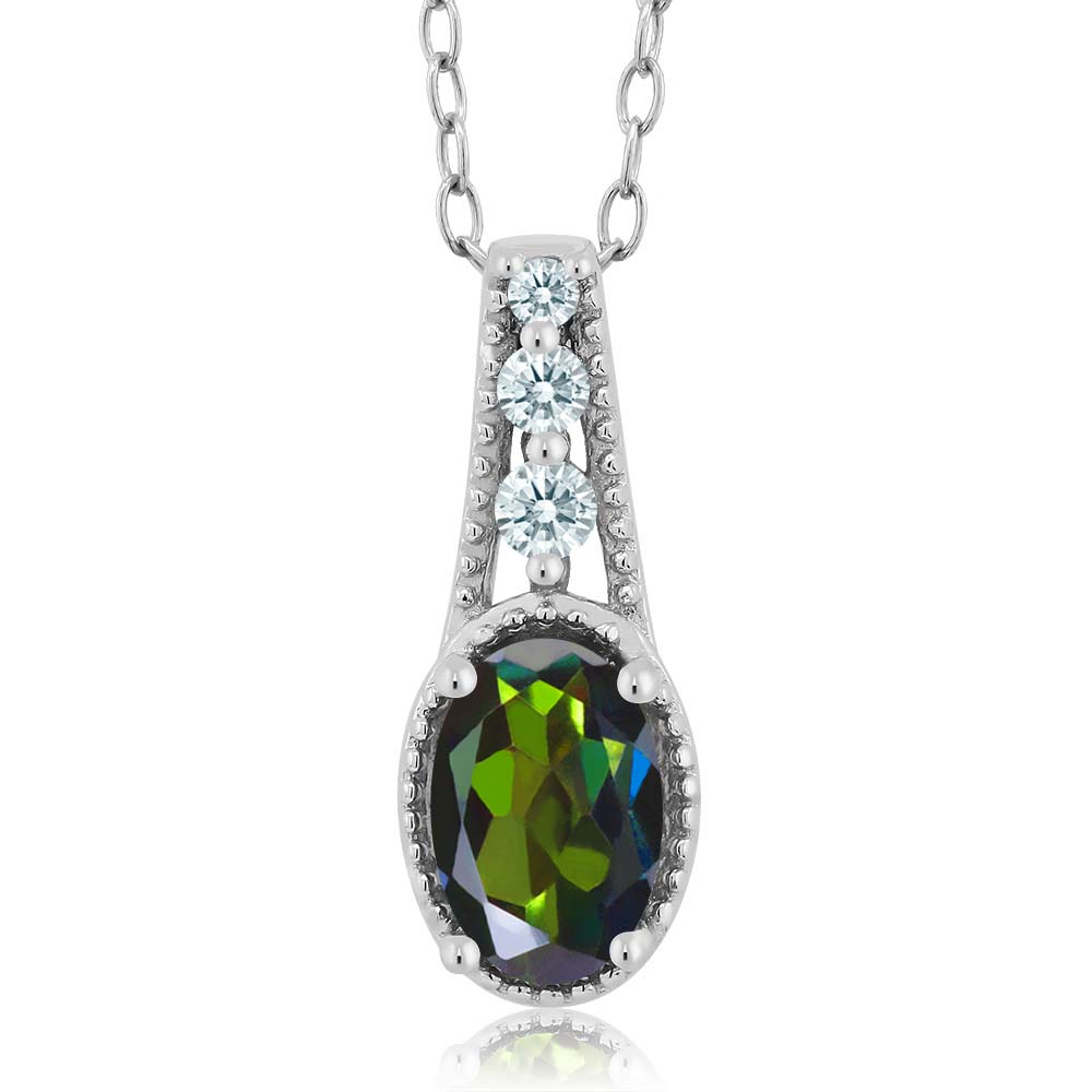 0.86 Ct Tourmaline Green 925 Sterling Silver Pendant Made With Swarovski Zirconia by