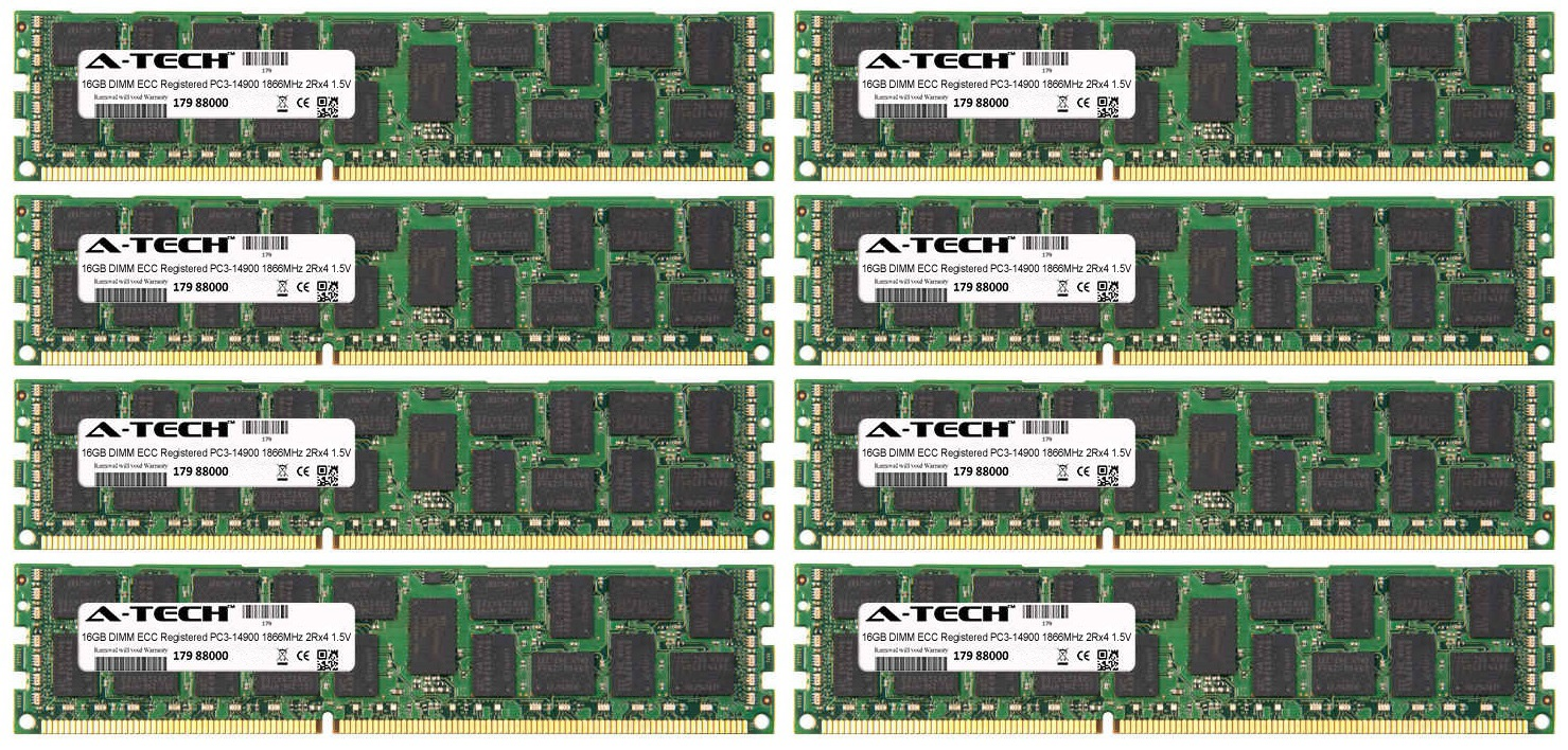128GB Kit 8x 16GB Modules PC3-14900 1866MHz 1.5V 2Rx4 ECC Registered DDR3 DIMM Server 240-pin Memory Ram