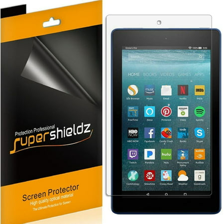 [3-pack] Supershieldz for Amazon All-New Fire 7 Tablet  (7th Gen - 2017 release Only) Screen Protector, Anti-Bubble High Definition (HD) Clear Shield ()