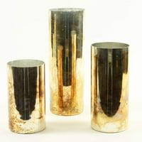Koyal Wholesale Burnt Gold Glass Cylinder Vases, 3ct