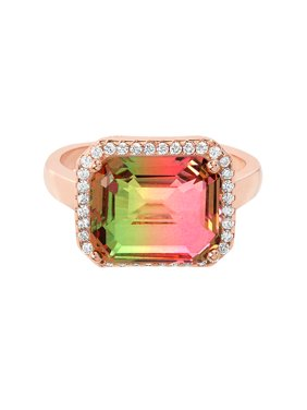 ae05eea77 Product Image Cubic Zirconia & Watermelon Tourmaline Emerald Cut Ring in  Rose Gold over Sterling Silver
