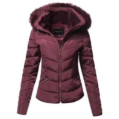 8c9827b753aaa FashionOutfit - FashionOutfit Women s Casual Solid Slim Fit Detachable  Hoodie Puffer Jacket - Walmart.com