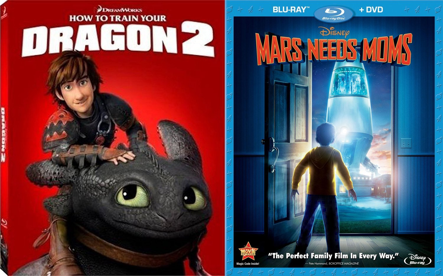 Disney Mars Needs Moms + How to Train your Dragon 2 Blu Ray + DVD Cartoons Double Feature awesome Animated Set by