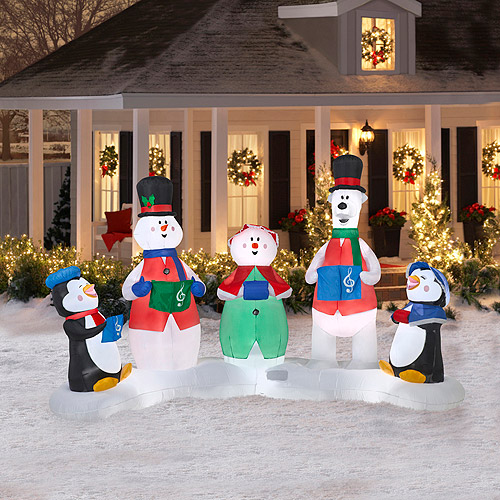 6.5' Tall x 10.5' Long Airblown Christmas Carolers Inflatable (Plays Music with Light Show)
