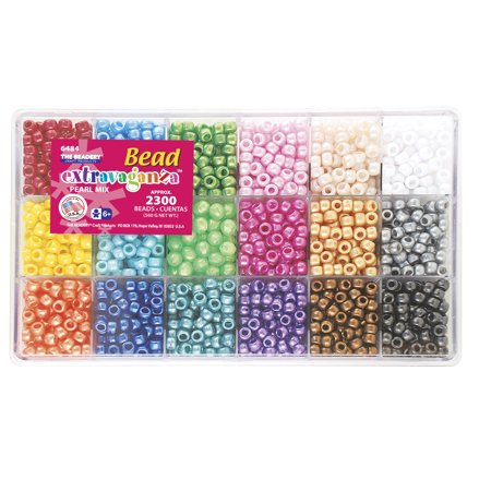 The Beadery Bead Extravaganza Pony Bead Box, 18 different Pearl colors, 2300 - Giant Bead Box
