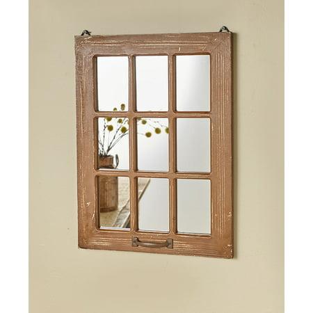 Distressed Wood Windowpane Mirror - ()