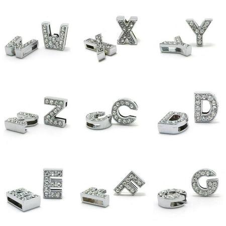 Heepo 10Pcs A-Z 8mm Rhinestone Slide Letter Charm DIY for Leather Name Bracelet - Diy Wire Bracelet