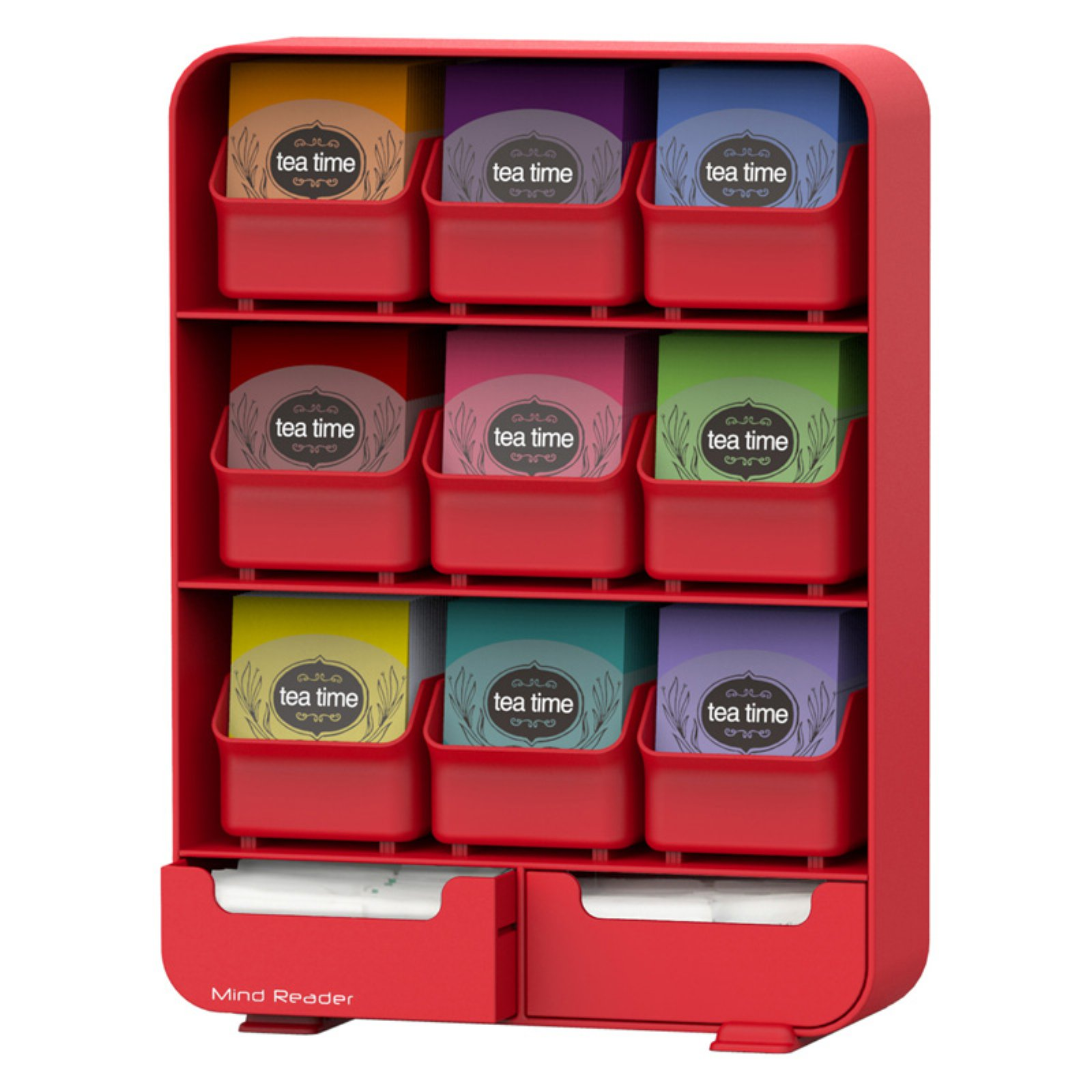 Mind Reader 'Baggy' 9 Drawer Tea Bag and accessory holder- Red