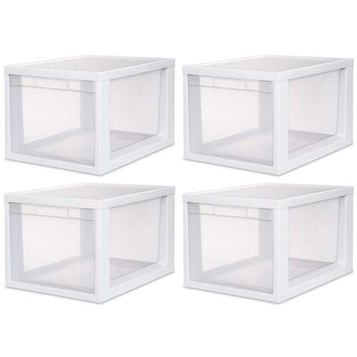 4 Sterilite 23658004 Medium Tall Modular Stacking Storage...